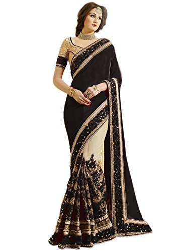 Nivah Fashion Women's Satin & Net Half & Half Embroidery work With Real Diamond's Material Saree (Black)