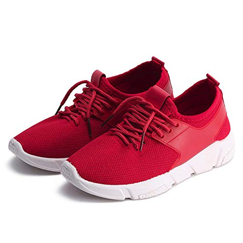 OrchidAmor Women Lace-up Casual Sport Fashion Walking Flats Mesh Running Sneaker Shoes 2019 Red