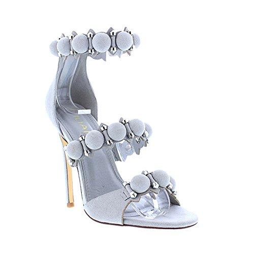 [Peep Toe Strappy Suede High Heel Women Pump Sandal Liliana Tisha19(Grey 6)] (Clunky Heels)