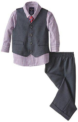 Nautica - Conjunto de chaleco con pantalón, playera y corbata para niño, Azul marino/Gris, 6-9 meses