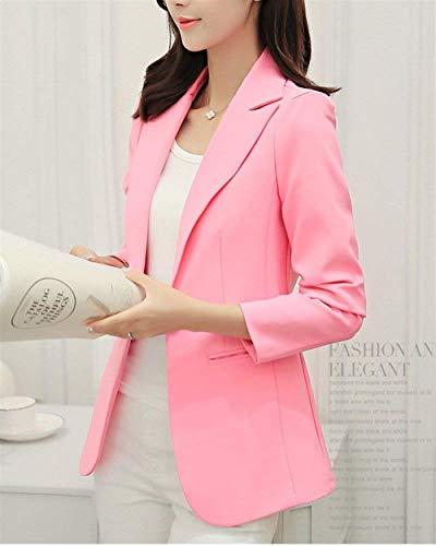 Pink Donna Giacca Lunga Eleganti Con Blazer Business Vita Cappotto Giacche Confortevole Moda Tailleur Button Primaverile Da Manica Alta Chic Puro Colore Bavero Autunno Fit Ufficio Slim r4wFqr7x6