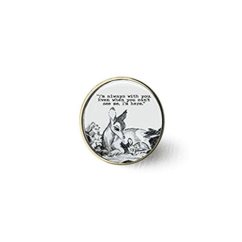 Oval Bambi & Mother 'Always with You' Quote Dome Brooch ()