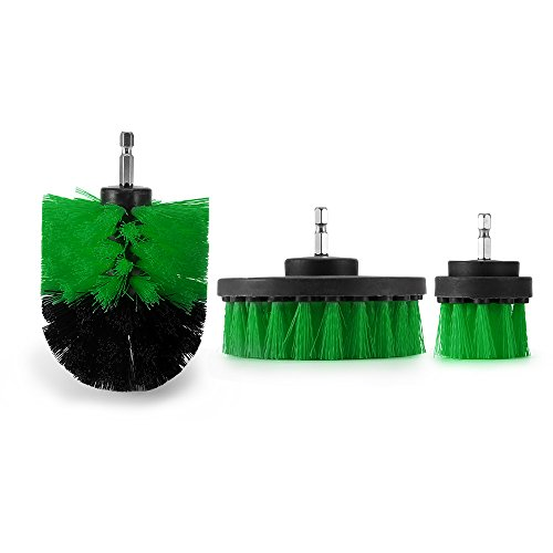 Shower Kit Brush - Drillbrush Attachment Kit,ALLOMN 3 PCS Drill Brush Scrubber Power Full Electric Bristle Tile Grout Cleaner for Bathroom,Kitchen,Tubs,Shower,Boat. (Green)