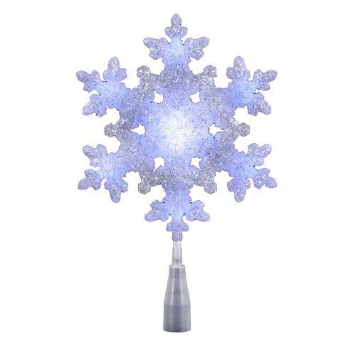 Blue Christmas Topper (Kurt Adler UL 10-Light LED Snowflake Treetop, White/Blue)
