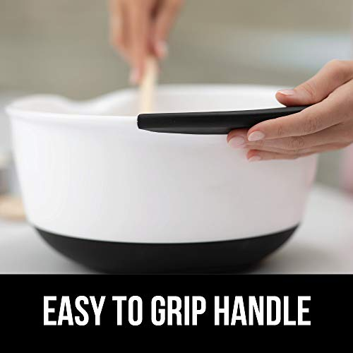 Gorilla Grip Original Mixing Bowls Set of 3, Slip Resistant Bottom, Includes 5 Qt, 3 Qt, and 1.5 Quart Nested Bowl, Dishwasher Safe, Grip Handle for Easy Mix, Pour Spout, Baking 3 Piece Set, Gray