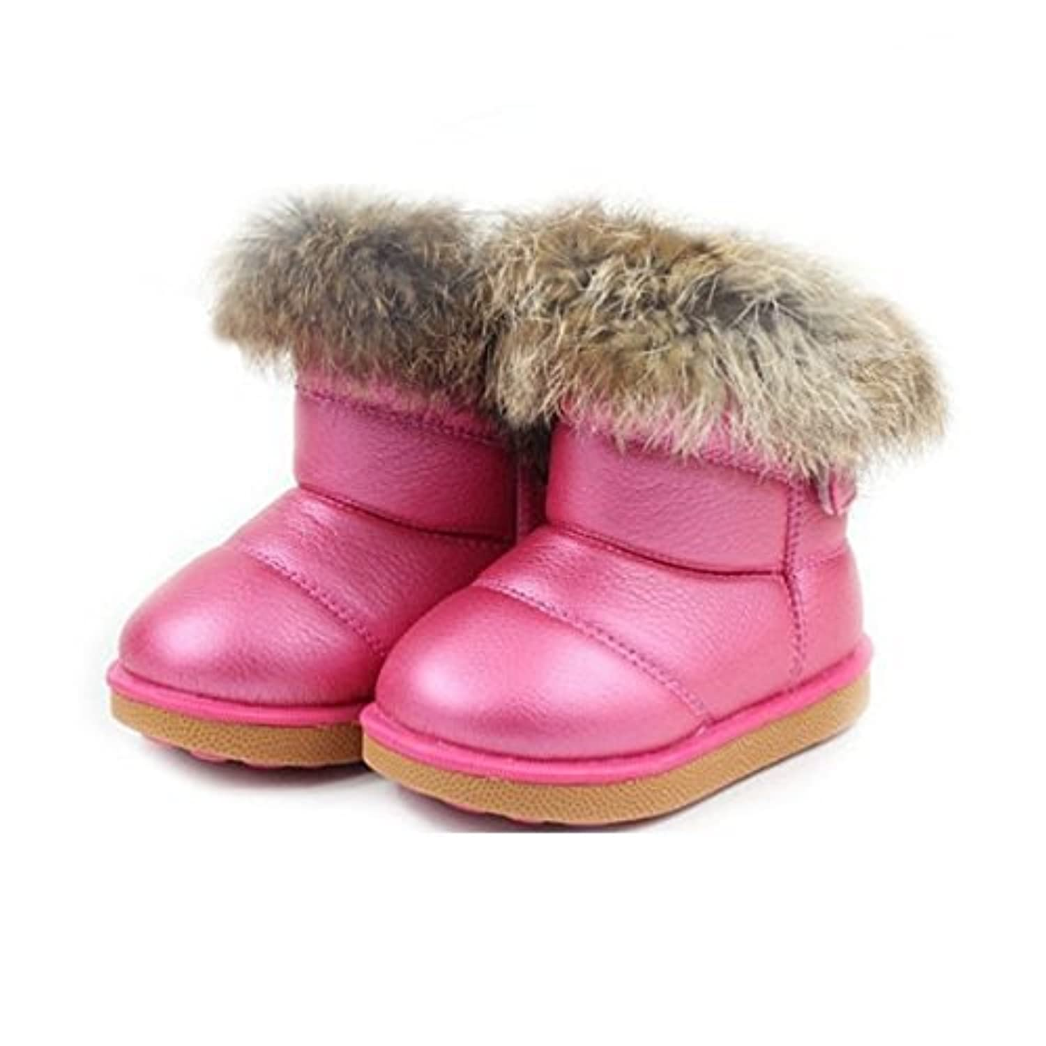 WorldFree Pink/Red NEW Babys Girls Boys Infant Kids Toddler Flat Winter Fur Boots Shoes Sz 5-12 (4.5 UK Child, Red)