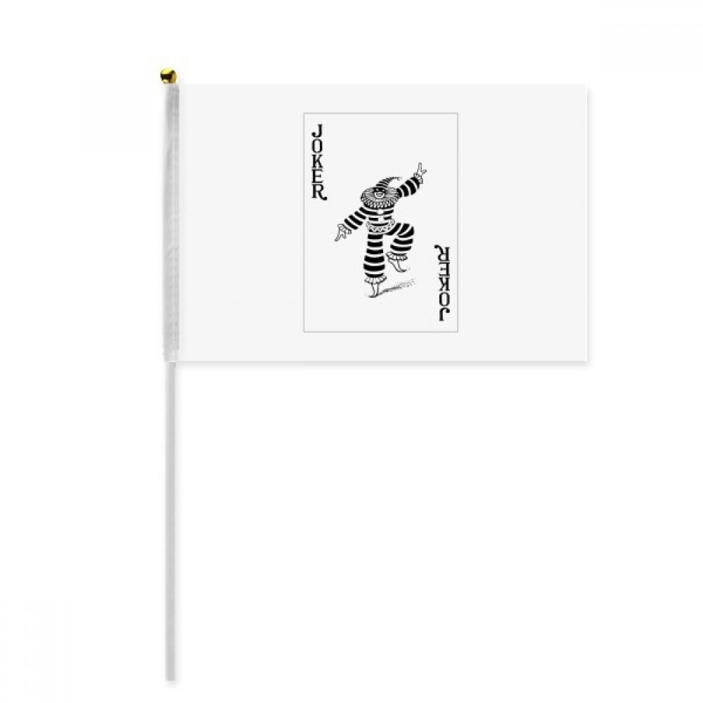 Black Joker Playing Cards Pattern Hand Waving Flag 8x5 inch Polyester Sport Event Procession Parade 4pcs