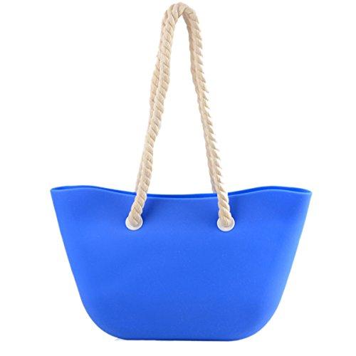 Moda Mujer Candy Color Silicona Gran Capacidad Simple Simple Hombro Bolso Blue