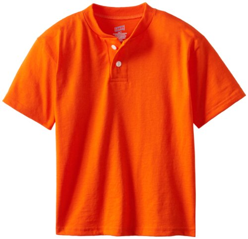 Soffe Big Boys' Midweight Cotton Poly Henley, Orange, Large
