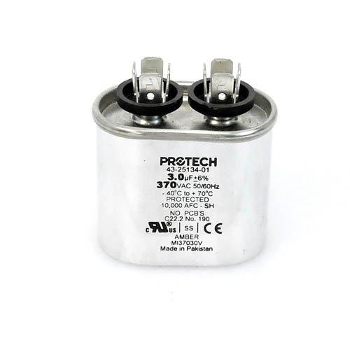 Ruud OEM Oval Replacement Run Capacitor 3 UF//MFD 370 Volt 43-25134-01
