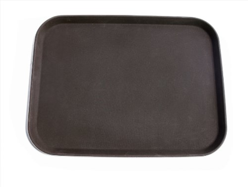 New Star Foodservice 25002 Non-Slip Tray, Plastic, Rubber Lined, Rectangular, 12 x 16 inch, Brown
