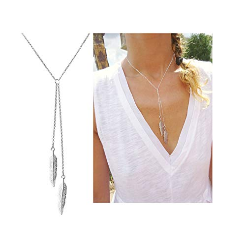 (Dcfywl731 Fashion Three Triangle Arrow Long Chain Pendant Necklace for Women Metal Geometric Sweater Necklace Punk Jewelry (Silver Feather Necklace) )