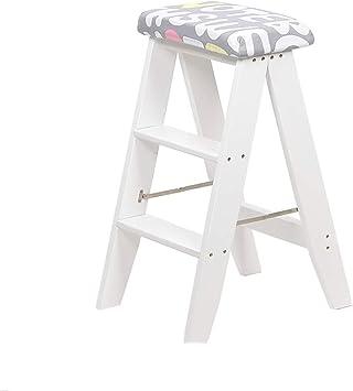 Escalera de tijera plegable de madera, sillas de 3 escalones, taburete de doble uso para interiores, taburete de cocina portátil, escalera pequeña para el hogar con tapizado de tela lavable: Amazon.es: Bricolaje