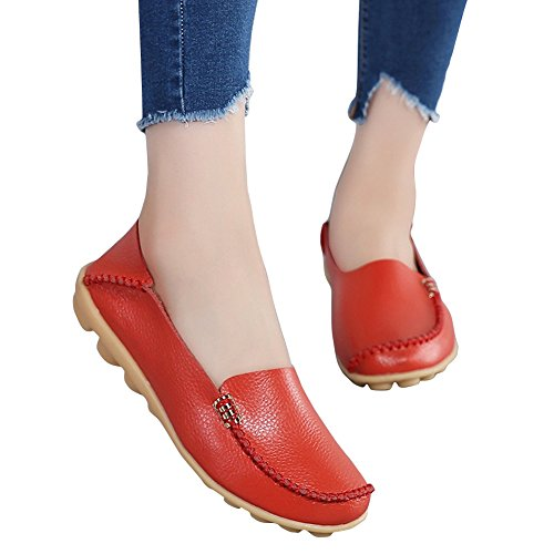 Womens Casual Slippers Summer Red Comfort Shoes Flat Loafers Walking Blivener Afnw4qqF