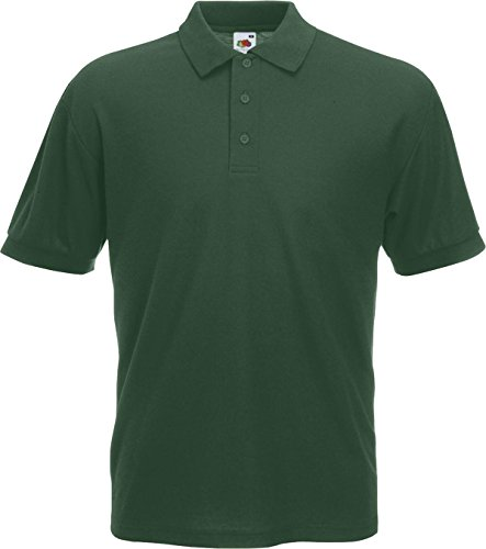 Fruit of the Loom–Camiseta casual wear camiseta de manga corta botón de 365/35Polo de manga corta Top verde oscuro