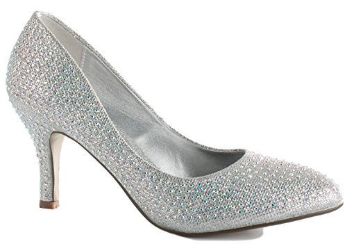 shoegeeks Ladies Womens Work Casual Office Smart Low Mid High Kitten Stiletto Heels Pointed Toe Bridal Court Bridesmaid Shoes Pumps Size 3-8 New Silver Diamante TaxMG