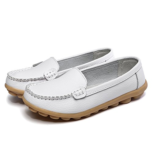 Hecater Mujeres Soft Leather Casual Loafer Flats Slip On Driving Mocasines Blanco