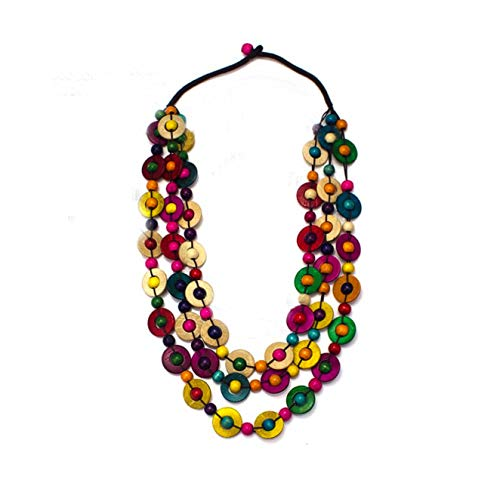 Nataliya African Bead Jewelry Set (Multicolor Coconut Shell Wood Statement)