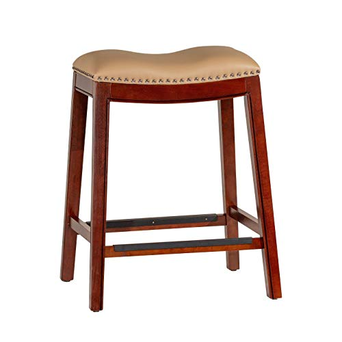 - DTY Indoor Living Durango Bonded Leather Saddle Stool, Cherry Finish, 24