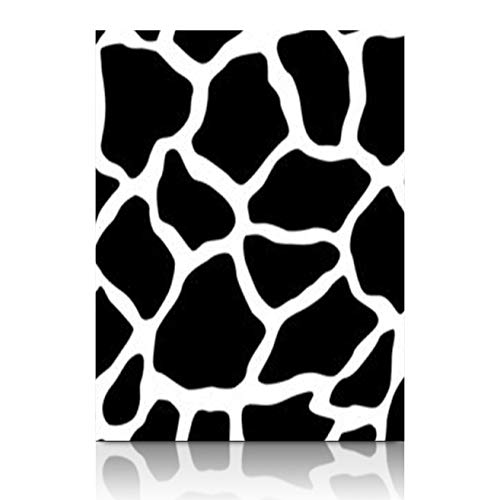 (Canvas Wall Art Print Painting Black White Giraffe Texture Skin Animal Stripe Wooden Frame Stretched Artwork Printing 12 x 12 for Home Bedroom Living Room Office)