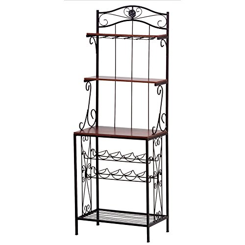 Pine Wood & Metal Baker's Style Decorative Wine & Glass Rack Holder w 3 Shelves by Furniture Creations