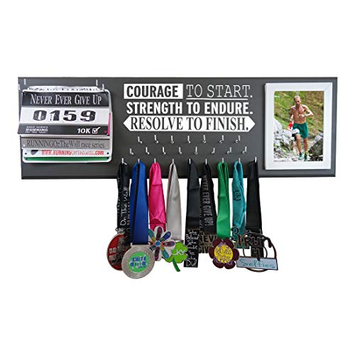 RunningontheWall Medal Hanger Medal Display Rack and Race Bibs Courage to Start. Strength to Endure. Resolve to Finish Running Medal Diplay with Picture Frame Design