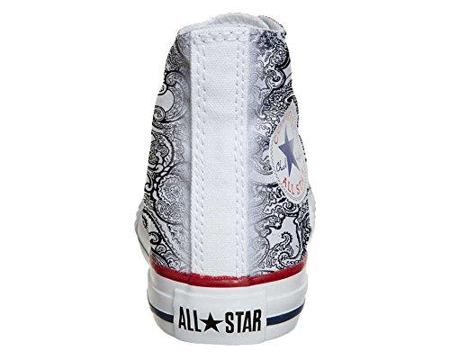 Converse All Star Customized - zapatos personalizados (Producto Artesano) Black & White Paisley