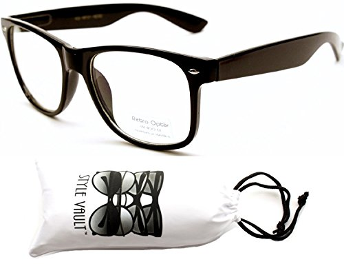 Kd217-ec Kids Children 3~10 year Old 80s vintage retro Glasses Sunglasses (Black-clear lens, mirrored) -