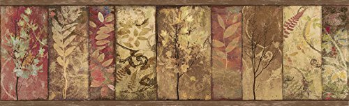 (Chesapeake TLL01552B Lillinonah Foliage Wallpaper Border, Brown by Chesapeake)