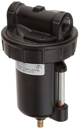 "Alemite 5608-2 Moisture Separator, 1/2"" NPTF(f) Inlet/Outlet, 110 cfm Air Flow @ 100 psi Inlet Pressure, 8 oz Bowl Capacity, 1/2"" Female NPTF"