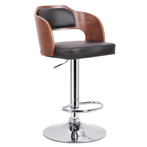 (Baxton Studio Sitka Walnut and Black Modern Bar Stool)