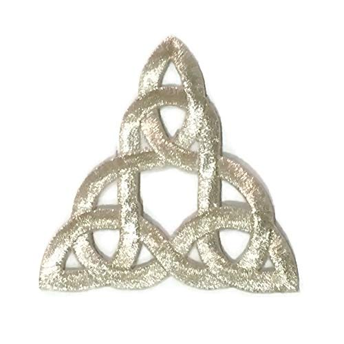 - Patch Portal Silver Celtic Knot 3 Inch Irish Tattoo Pattern DIY Embroidered Applique Trinity Stencil Triquetra Gothic Sew Iron On Patches for Jackets Hats Cloth