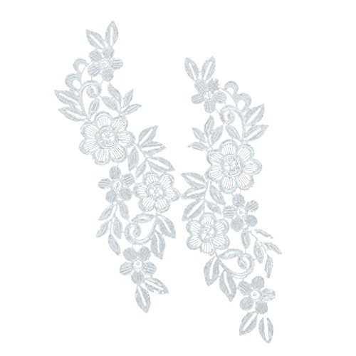 Jili Online Pair Floral Lace Applique Embroidered Sewing Craft Trims Applique - White