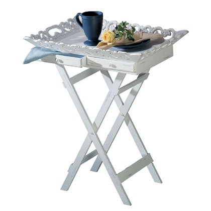 Elegant Shabby White Tv Television Breakfast Tray Stand