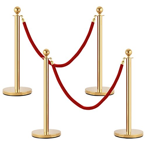 Goplus 4Pcs Stanchion Posts Queue Pole Retractable 2 Velvet Ropes Crowd Control Barrier by Goplus