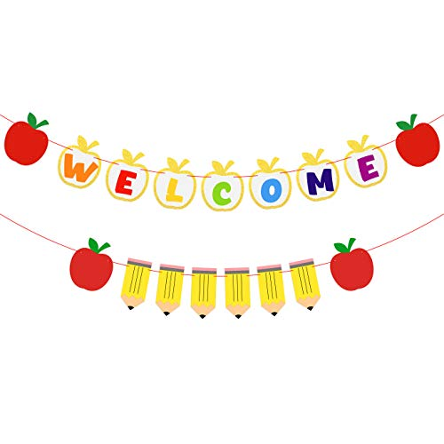 Welcome Apple - BeYumi Welcome Banner, Apple & Pencil Banner and Garland for Classroom Décor, Back to School Themed Party, Kindergarten Banner