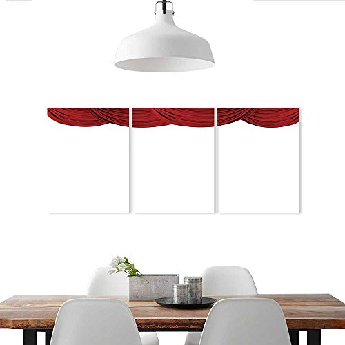 Auraise-home Customize Wall Stickers Red Fabric Theatre Drapes on a Plain White Triple Art Stickers