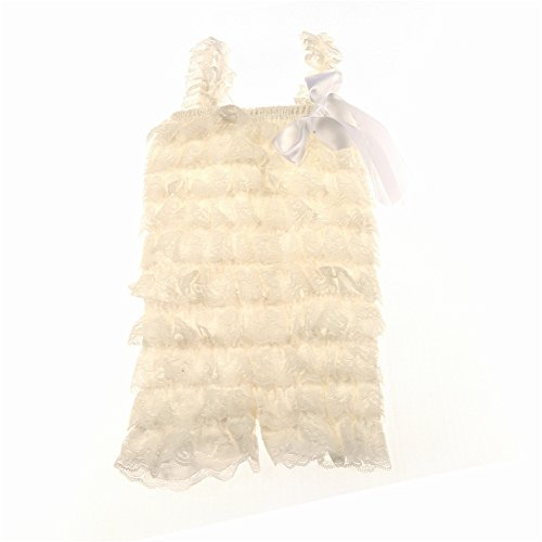 Kaiya Angel Baby Girl's Lace Romper Ivory Size M