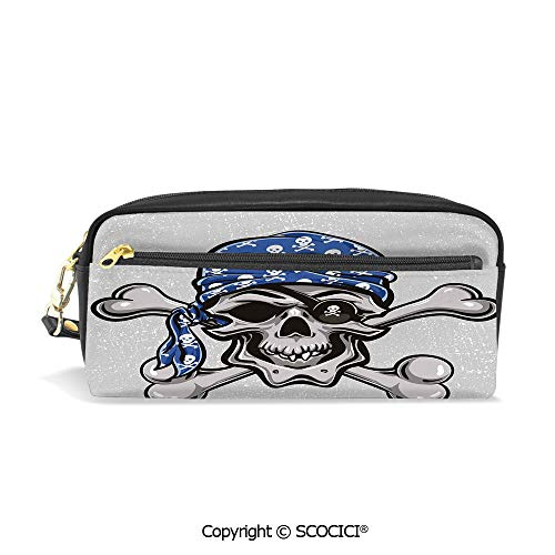 Printed Pencil Case Large Capacity Pen Bag Makeup Bag Scallywag Pirate Dead Grunge Horror Icon Evil Sailor Crossed Bones Kerchief for School Office Work College Travel -