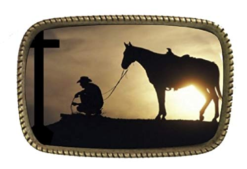 Cowboy Praying And The Cross Prayer For Life Brass Belt Buckle Made In USA