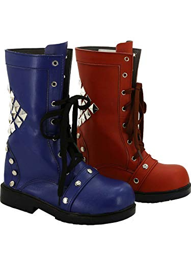 GOTEDDY Harley Shoes Halloween Cosplay Girl Clown Martin Booties Leather Boots -