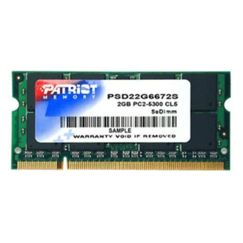 Patriot Signature PSD22G6672S DDR2 2GB CL5 PC2-5300 (667MHz) SODIMM - 667MHz DDR2-667/PC2-5300 - Non-ECC - DDR2 SDRAM - 200-pin SoDIMM (Patriot Memory PSD22G6672S)