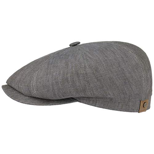 (Stetson Hatteras Linen Newsboy Cap for Women and Men Cap Flax with Peak,with Lining Spring Summer (56 cm - Grey))