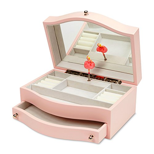 JewelKeeper Girls Wooden Music Jewelry Box with Pullout Drawer, Classic Design with Ballerina and Mirror, Somewhere Over The Rainbow Tune, Rose Pink by JewelKeeper (Image #2)