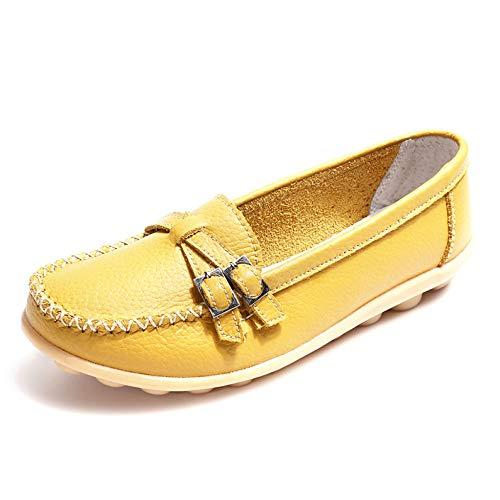 Trabajo De Mocasines Para Antideslizantes Perezosos Zapatos Mujer Confort Yellow Planos Náuticos qEnAUx5W