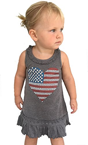 - SoRock Toddler Girls 4th of July USA Studded Flag Dress 2T Heather Grey