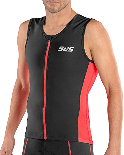 SLS3 Triathlon Men`s FRT Tri Top | 2 Pockets | Full Zipper | Jersey | Singlet | Tank | German Designed (Black/Red, S)