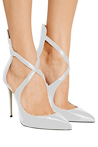 Sammitop Stiletto Women's Strappy Pointed Strap Shoes Ankle Buckle Crisscross Toe High Pumps Whitepatent Heels Ladies ZtZrwqd