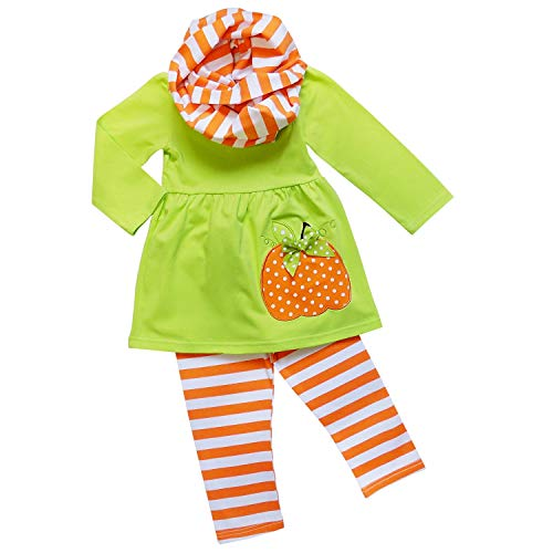 Toddler Pumpkin (So Sydney Toddler Girls 3 Pc Halloween Fall Tunic Top Leggings Outfit, Infinity Scarf (M (4T), Pumpkin Stripe Lime))