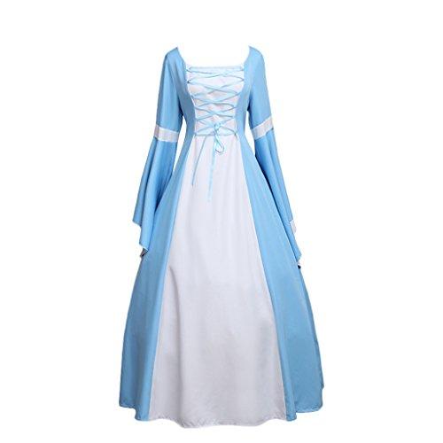 CosplayDiy Women's Medieval Renaissance Victorian Light Blue Dress Costume (Light Blue Renaissance Dress)